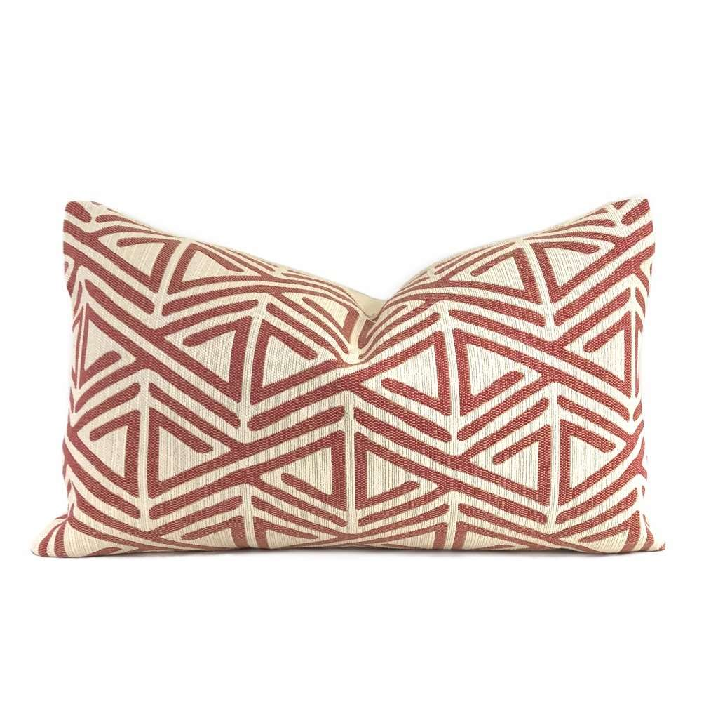 Robert Allen Triangle Maze Red Dark Cream Pillow Cover Cushion Pillow Case Euro Sham 16x16 18x18 20x20 22x22 24x24 26x26 28x28 Lumbar Pillow 12x18 12x20 12x24 14x20 16x26 by Aloriam