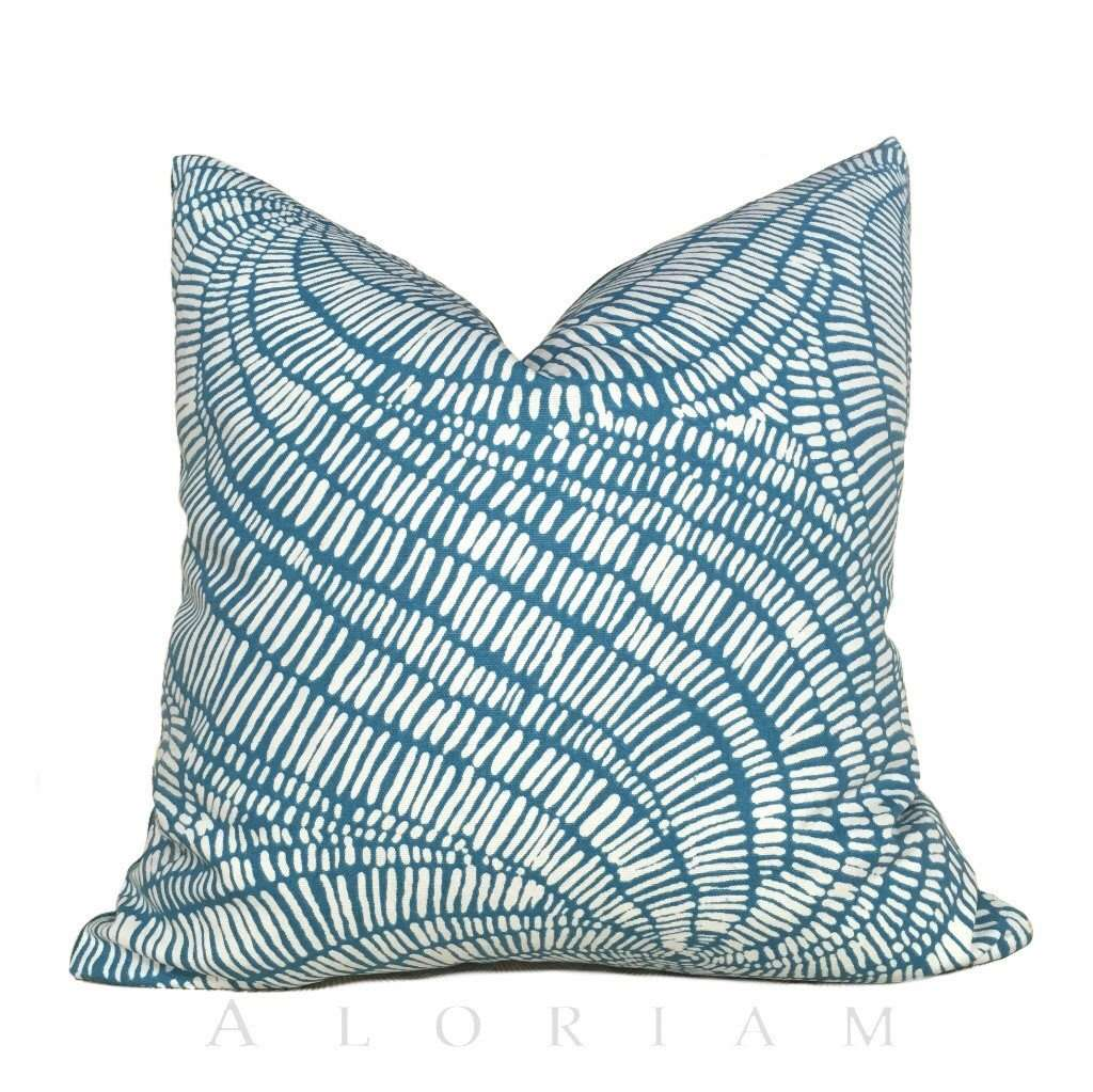 Robert Allen Turquoise Teal Blue Beige Abstract Swirl Pattern Pillow Cover Cushion Pillow Case Euro Sham 16x16 18x18 20x20 22x22 24x24 26x26 28x28 Lumbar Pillow 12x18 12x20 12x24 14x20 16x26 by Aloriam