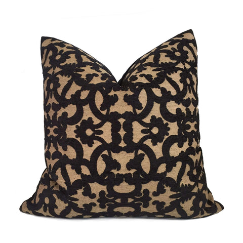 Robert Allen Tuscan Scrolls Black Tan Scrollwork Pillow Cover by Aloriam