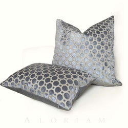 Robert Allen Velvet Geo Gray Cut Velvet Pillow Cover Cushion Pillow Case Euro Sham 16x16 18x18 20x20 22x22 24x24 26x26 28x28 Lumbar Pillow 12x18 12x20 12x24 14x20 16x26 by Aloriam