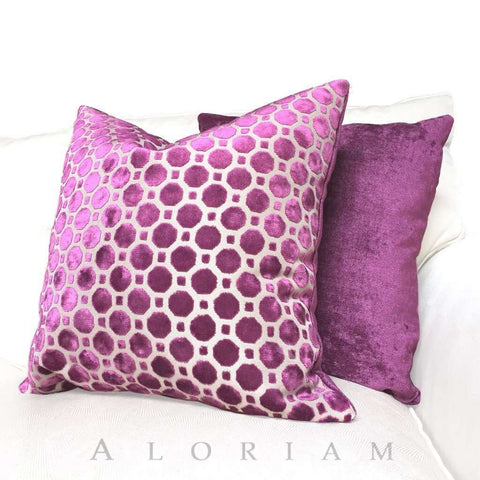 Robert Allen Velvet Geo Magenta Purple Pillow Cushion