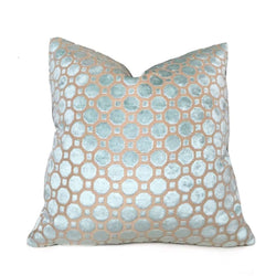 Robert Allen Velvet Geo Mineral Blue Light Aqua Cut Velvet Pillow Cover