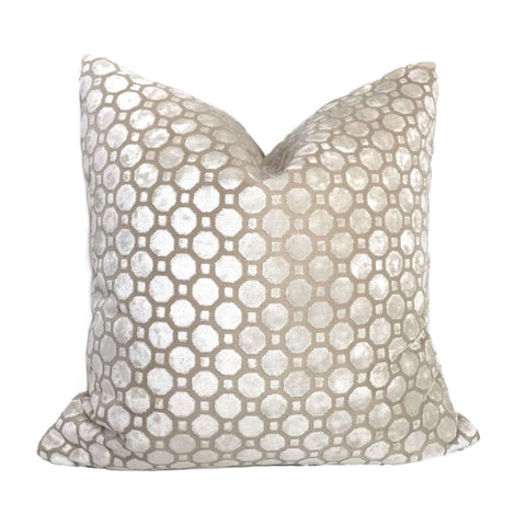Robert Allen Velvet Geo Pearl White Pillow Cushion Cover Cushion Pillow Case Euro Sham 16x16 18x18 20x20 22x22 24x24 26x26 28x28 Lumbar Pillow 12x18 12x20 12x24 14x20 16x26 by Aloriam