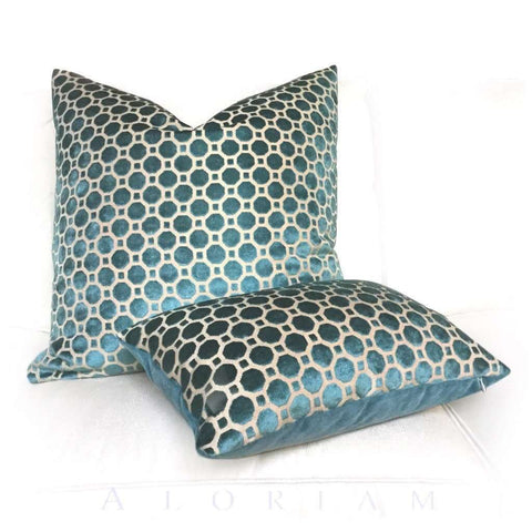 Robert Allen Velvet Geo Teal Blue Green Geometric Pillow Cover