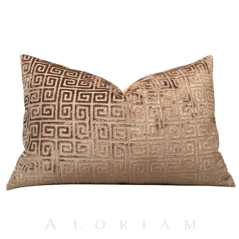 "Robert Allen Velvet Greek Key Amber Brown Pillow Cover, Fits 12x18 12x24 14x20 16x26 16"" 18"" 20"" 22"" 24"" Cushions"