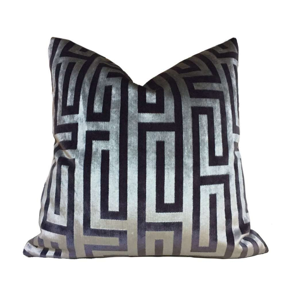 Robert Allen Velvet Maze Shale Brown Larry Laslo Velvet Pillow Cover by Aloriam