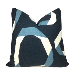 Robert Allen Vento Ribbon Blue White Pillow Cover