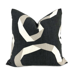Robert Allen Vento Ribbon Charcoal Gray Cream Taupe Pillow Cover