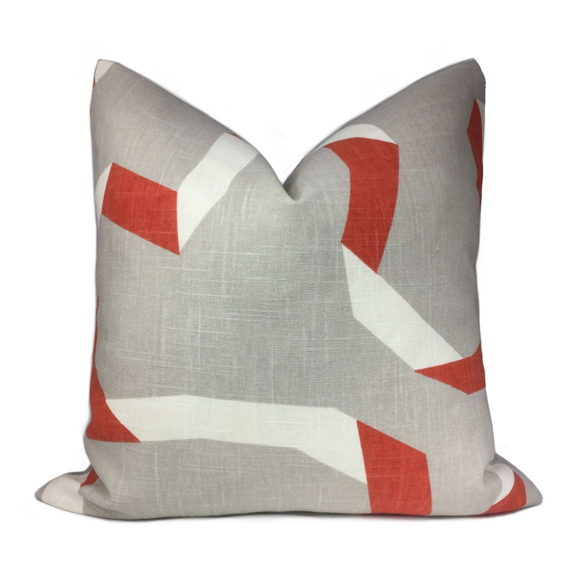 Robert Allen Vento Ribbon Gray Orange White Pillow Cover