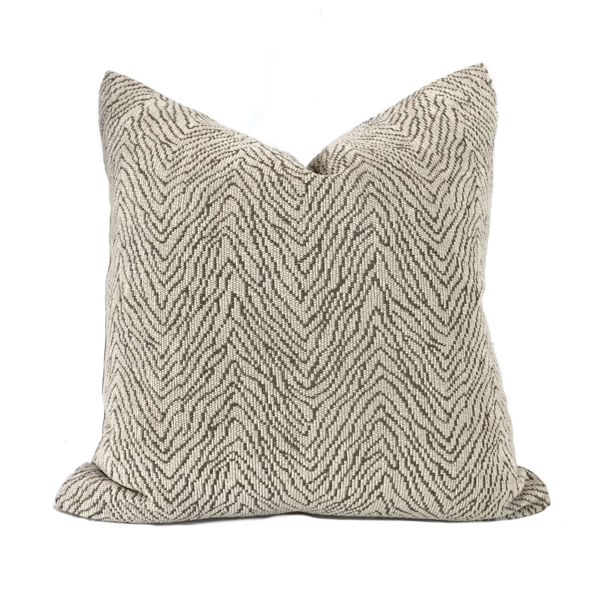 Robert Allen Wavelength Oatmeal Beige Brown Chenille Pillow Cover by Aloriam