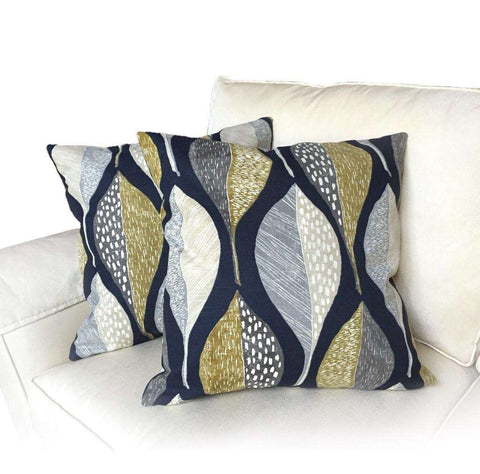 Robert Allen Woodblock Leaf Indigo Pillow Cover by Aloriam