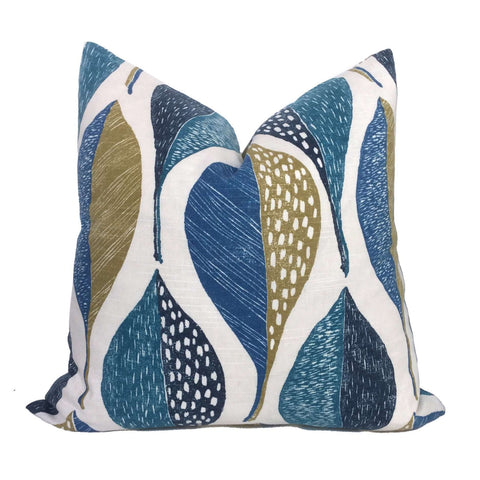 Robert Allen Woodblock Leaf Peacock Pillow Cover