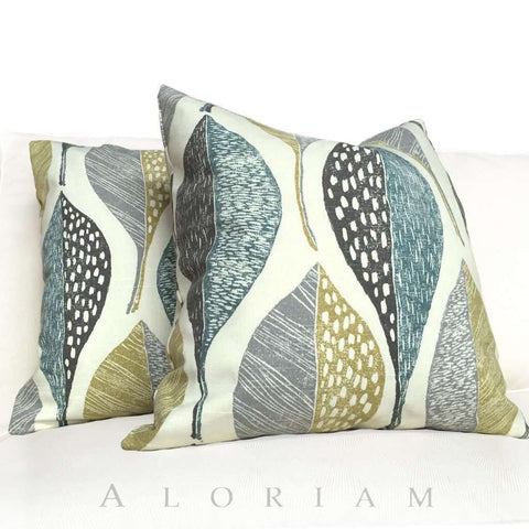Robert Allen Woodblock Leaf Rain Pillow Cover Cushion Pillow Case Euro Sham 16x16 18x18 20x20 22x22 24x24 26x26 28x28 Lumbar Pillow 12x18 12x20 12x24 14x20 16x26 by Aloriam