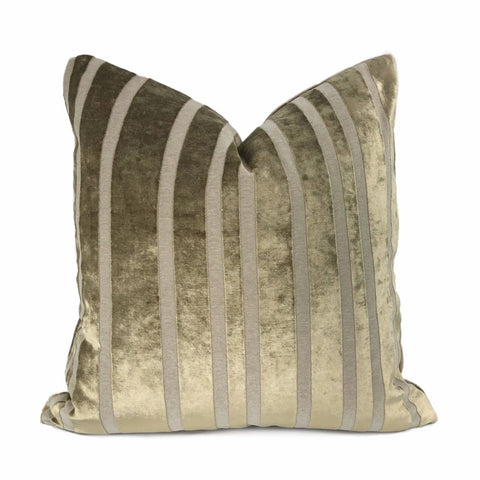 Rockford Taupe Brown Velvet Stripe Pillow Cover - Aloriam