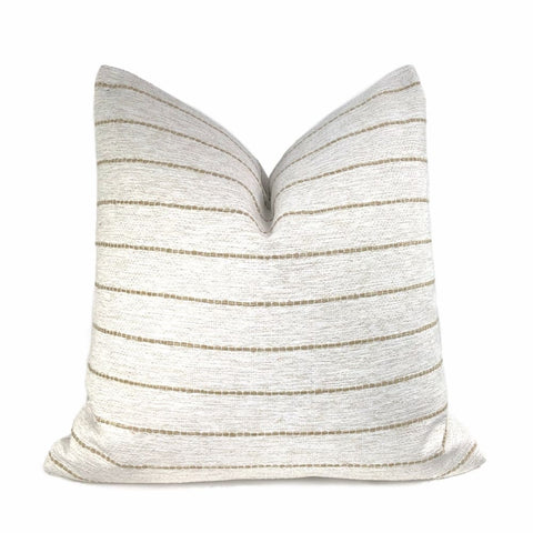 Rockwell White Beige Stripe Pillow Cover - Aloriam