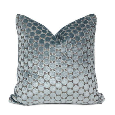 Romo Orosi French Blue Cut Velvet Hexagons Pillow Cover - Aloriam