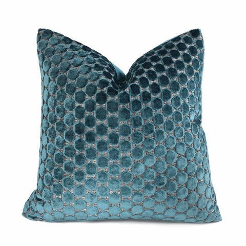 Romo Orosi Viridian Teal Green Cut Velvet Hexagons Pillow Cover - Aloriam
