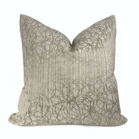 Roslyn Flax Beige Abstract Pillow Cover - Aloriam