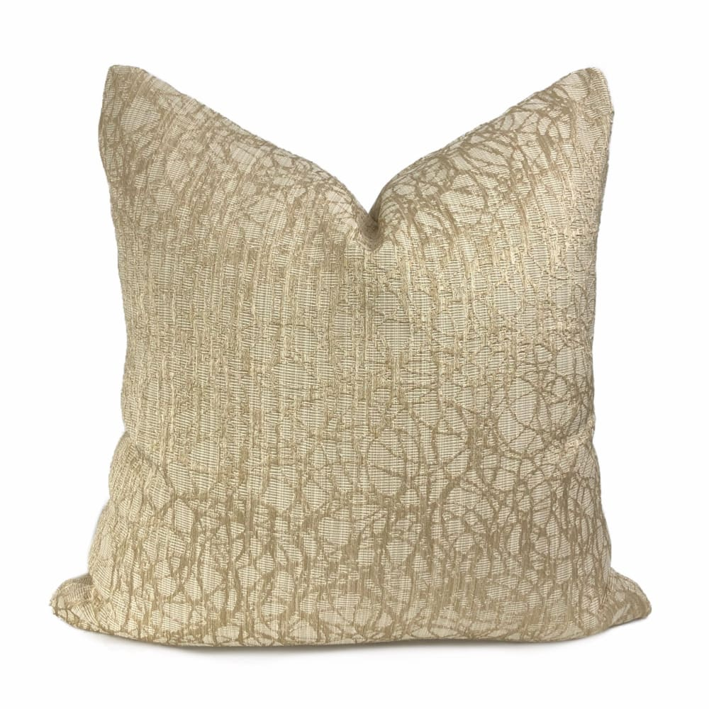 Roslyn Golden Beige Abstract Pillow Cover - Aloriam