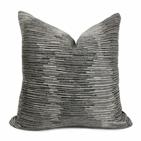 Ryder Gray Tonal Modern Stripe Texture Pillow Cover - Aloriam