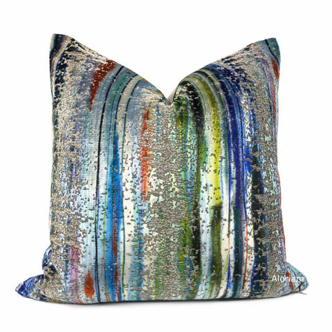S Harris Brushstroke Velvet Maldive Modern Abstract Art Pillow Cover - Aloriam