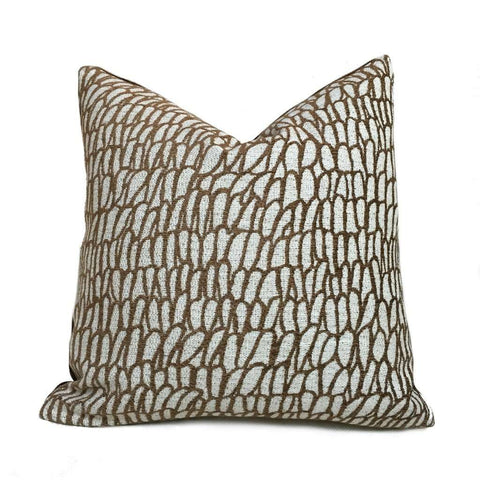 S Harris Kukui Bark Brown Abstract Ethnic Texture Pillow Cover