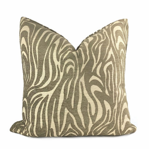 Saber Brown Beige Animal Stripe Chenille Pillow Cover - Aloriam