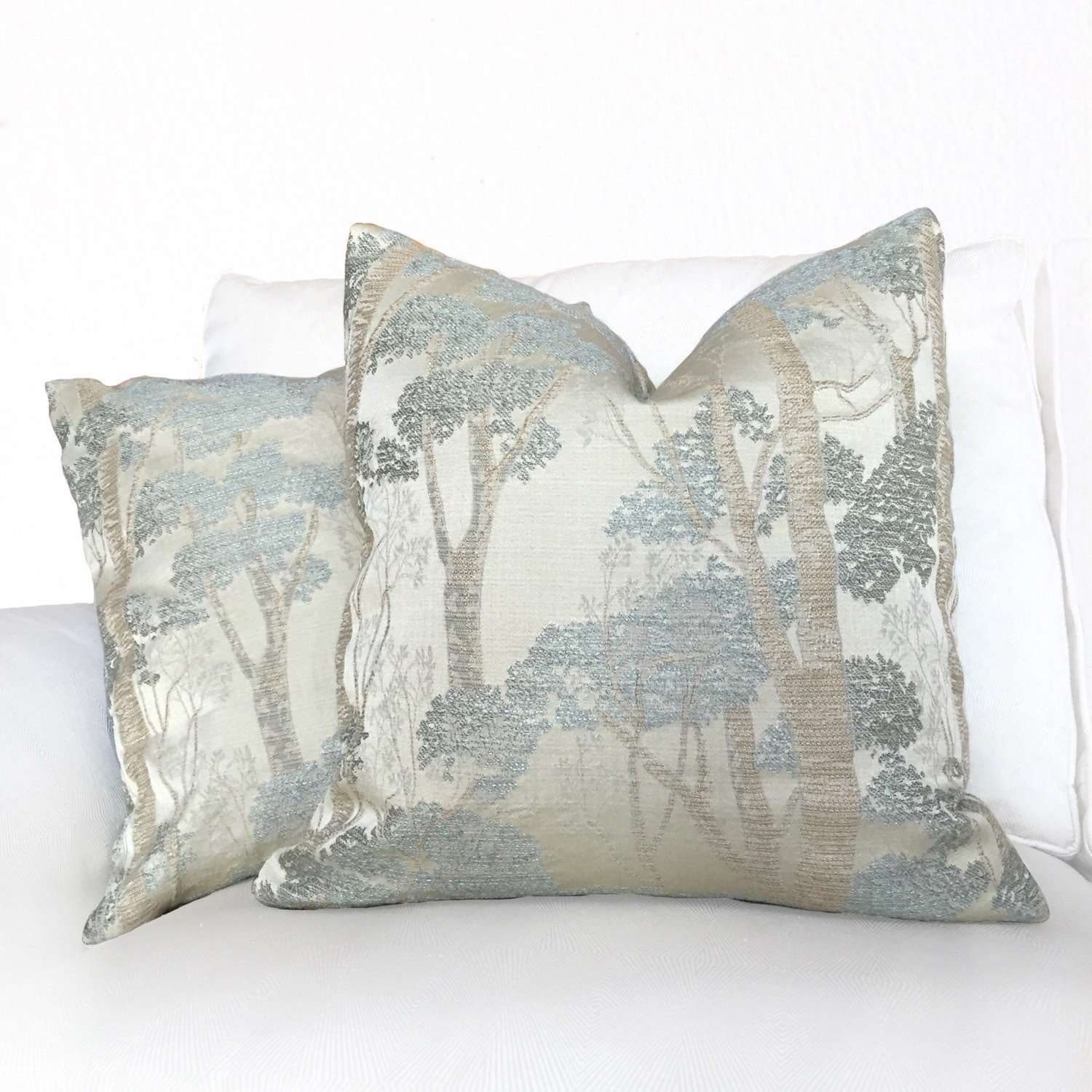 Sage Green Beige Nature Forest Trees Pillow Cushion Cover