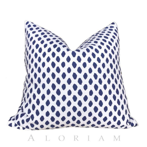 Lacefield Sahara Ikat Dots Blue White Cotton Throw Pillow Cushion Cover