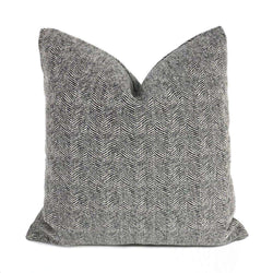 Salt & Pepper Wavy Herringbone Chenille Pillow Cover