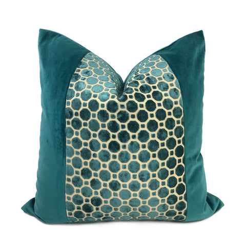 Samara Teal Green Velvet Geo Panel Pillow Cover Cushion Pillow Case Euro Sham 16x16 18x18 20x20 22x22 24x24 26x26 28x28 Lumbar Pillow 12x18 12x20 12x24 14x20 16x26 by Aloriam