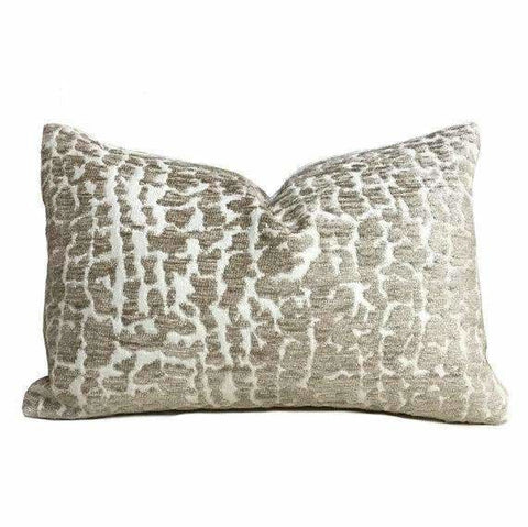 Sandy Beige Abstract Alligator Crocodile Pattern Texture Chenille Velvet Pillow Cover - Aloriam