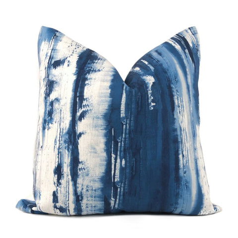 Santorini Blue White Brushstroke Pillow Cover - Aloriam