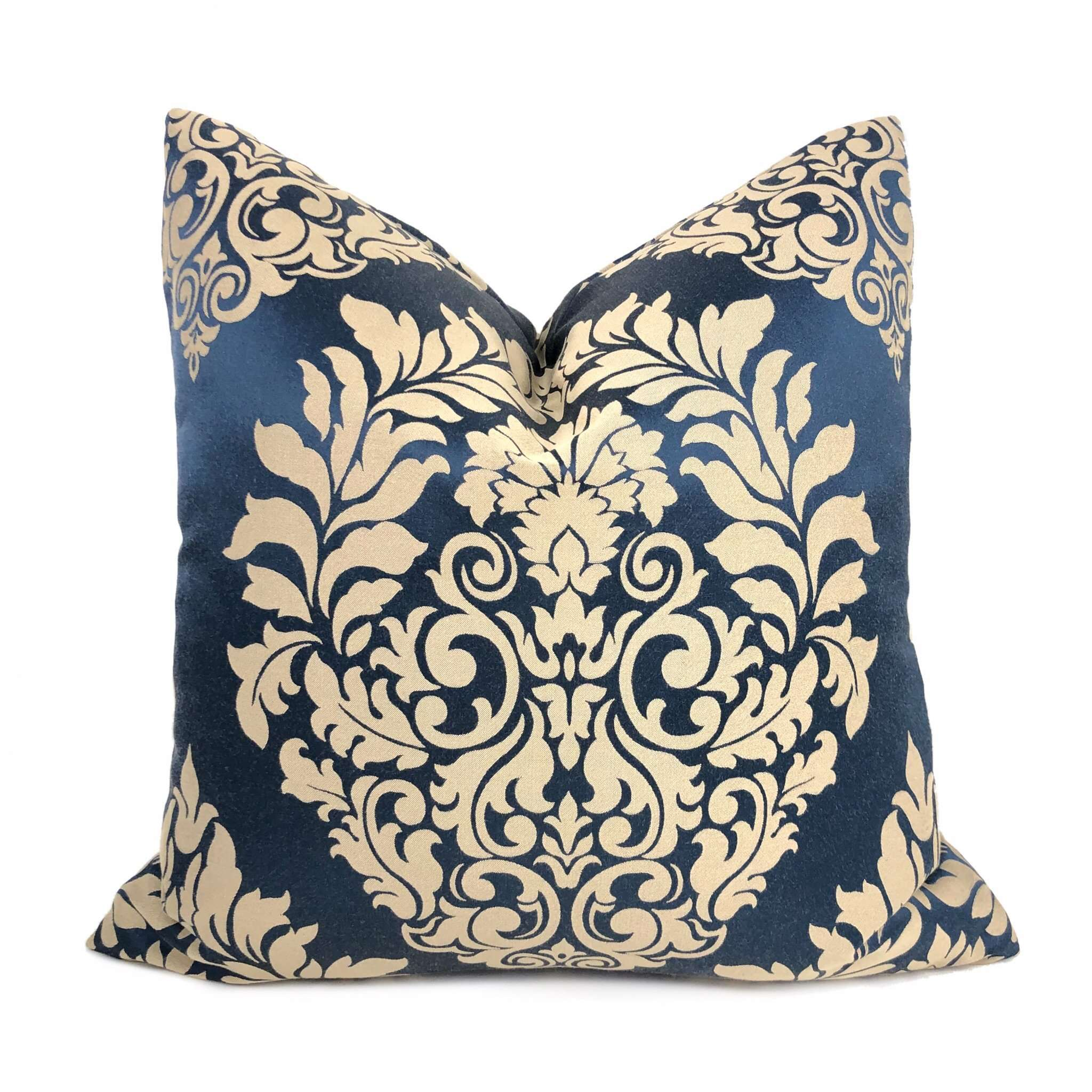 Sapphire Blue Beige Satin Damask Pillow Cushion Cover Cushion Pillow Case Euro Sham 16x16 18x18 20x20 22x22 24x24 26x26 28x28 Lumbar Pillow 12x18 12x20 12x24 14x20 16x26 by Aloriam