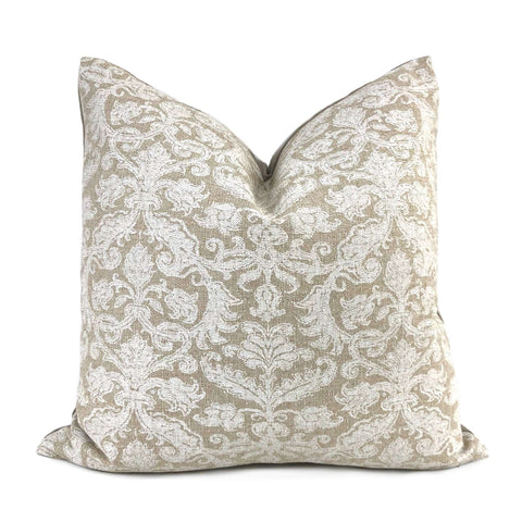 Lacefield Designs Savannah Damask Chalk White Beige Pillow Cover