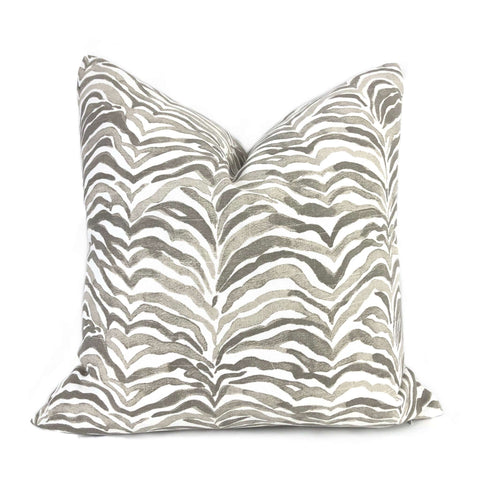 Lacefield Designs Serengeti Taupe Gray White Animal Stripe Pillow Cover