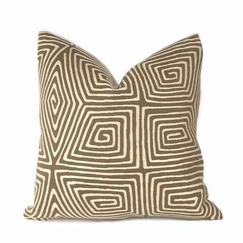 Shelby Brown Ivory Stylized Tortoise Shell Maze Pillow Cover - Aloriam