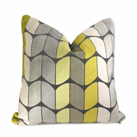 Sheridan Yellow Gray Velvet Pillow Cover - Aloriam