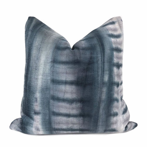 Shibori Style Gray Navy Purple Chenille Pillow Cover - Aloriam