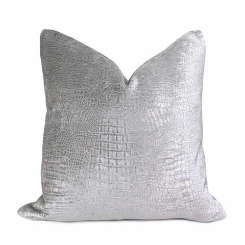Silver Gray Alligator Skin Pattern Chenille Pillow Cover - Aloriam