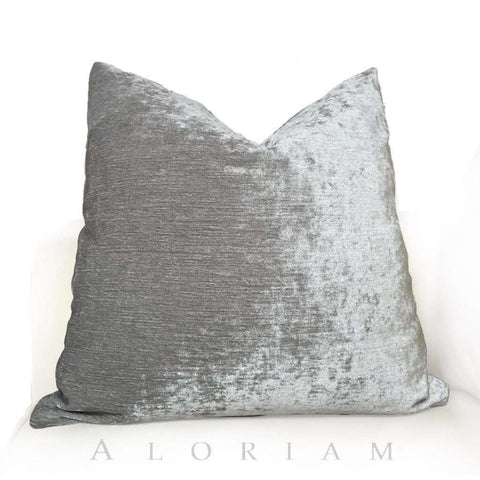 Silver Gray Chenille Velvet Pillow Cushion