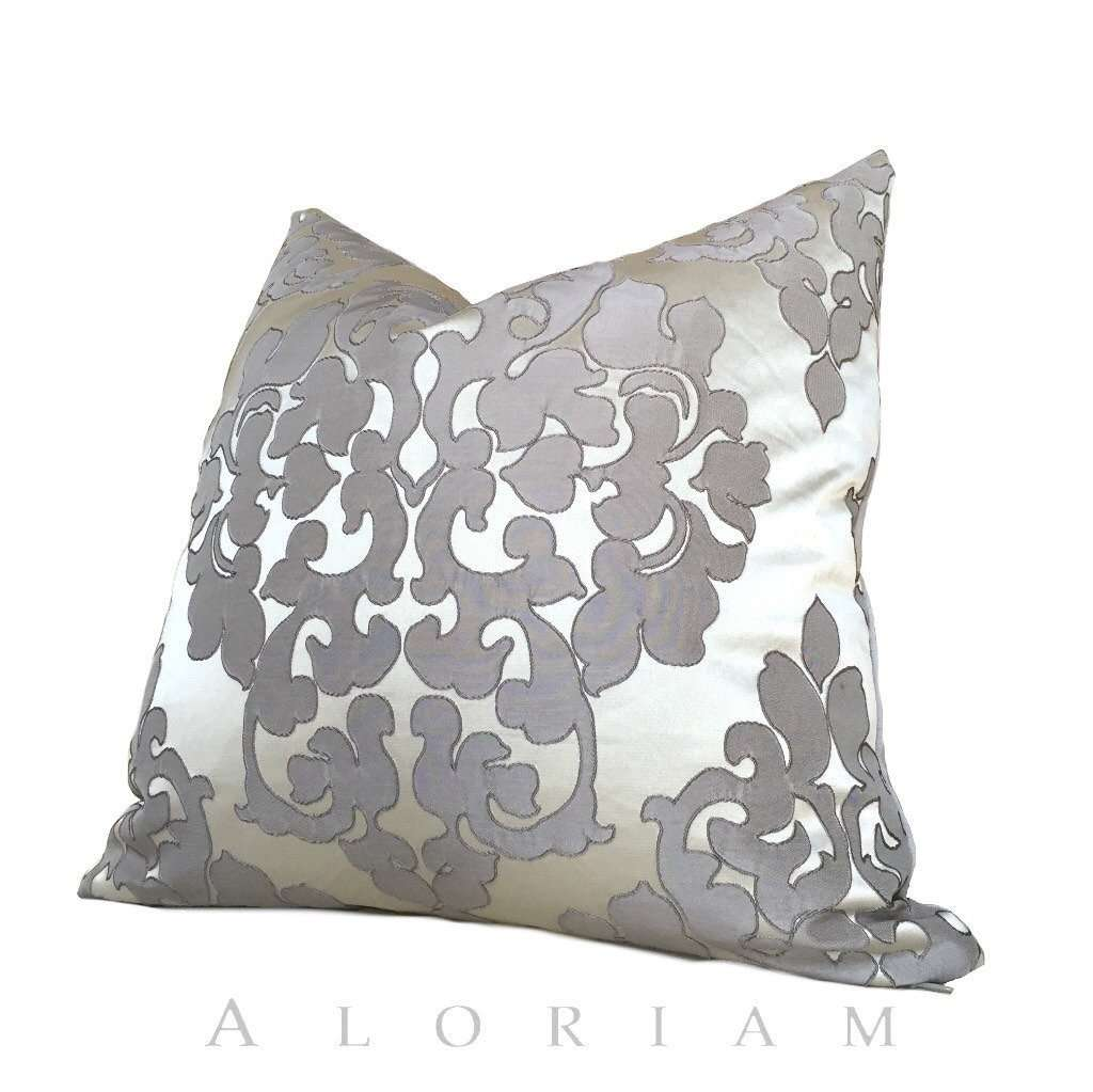 Silver Gray Damask Floral Satin Decorative Throw Pillow Cushion Cover by Aloriam