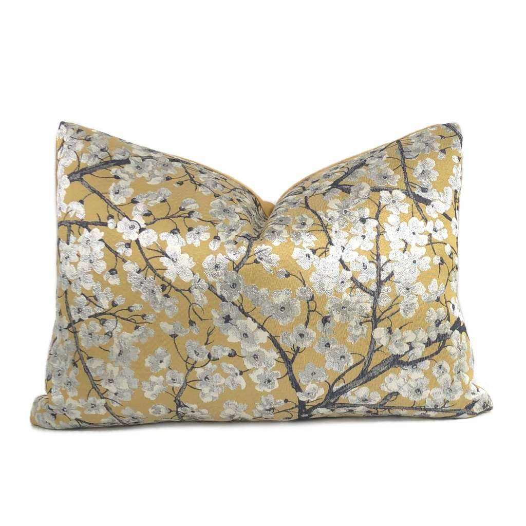 Silver Gray Floral Flower on Ochre Yellow Pillow Cushion Cover Cushion Pillow Case Euro Sham 16x16 18x18 20x20 22x22 24x24 26x26 28x28 Lumbar Pillow 12x18 12x20 12x24 14x20 16x26 by Aloriam