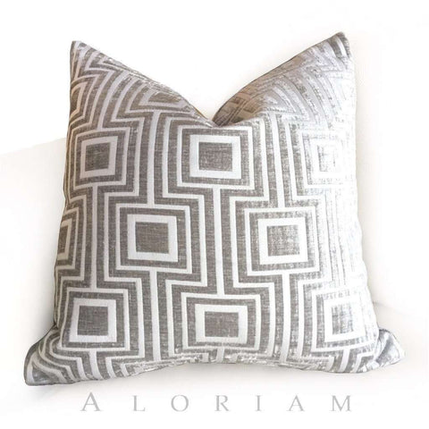 Silver Gray Geometric Chenille Pillow by Aloriam