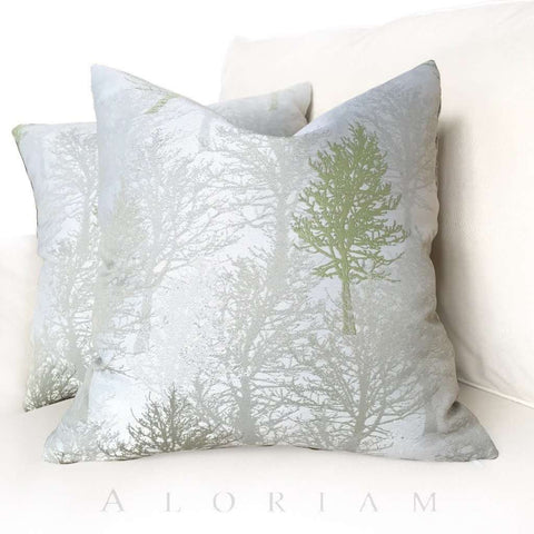 Silvery Gray Green Forest Trees Pillow Cover Cushion Pillow Case Euro Sham 16x16 18x18 20x20 22x22 24x24 26x26 28x28 Lumbar Pillow 12x18 12x20 12x24 14x20 16x26 by Aloriam
