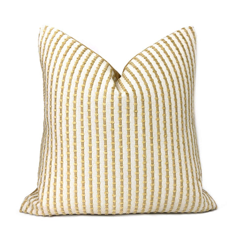 Kravet 31385-114 Sinclair Sand & Cream Embroidered Textured Stripe Pillow Cover