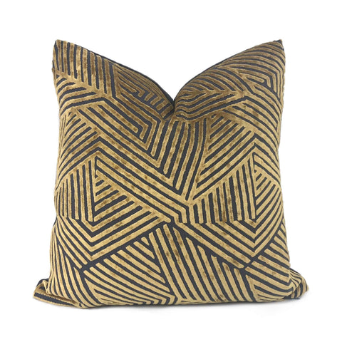 Antique Gold Gray Cut Velvet Geometric Lines Pillow Cover