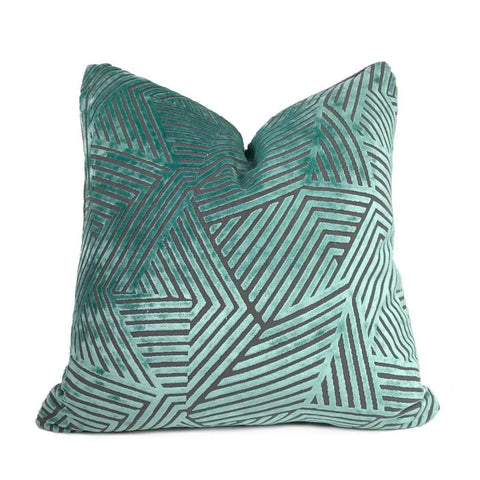 Soho Aquamarine & Gray Cut Velvet Geometric Lines Pillow Cover Cushion Pillow Case Euro Sham 16x16 18x18 20x20 22x22 24x24 26x26 28x28 Lumbar Pillow 12x18 12x20 12x24 14x20 16x26 by Aloriam