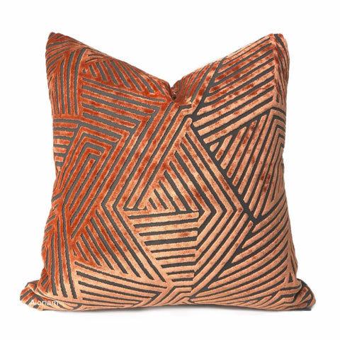 Soho Orange Gray Cut Velvet Geometric Lines Pillow Cover Template - Aloriam