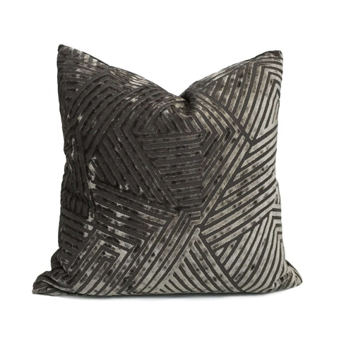Soho Pewter Gray Cut Velvet Geometric Lines Pillow Cover Cushion Pillow Case Euro Sham 16x16 18x18 20x20 22x22 24x24 26x26 28x28 Lumbar Pillow 12x18 12x20 12x24 14x20 16x26 by Aloriam